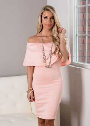 Case Closed Off Shoulder Ruffle Pencil Dress Blush