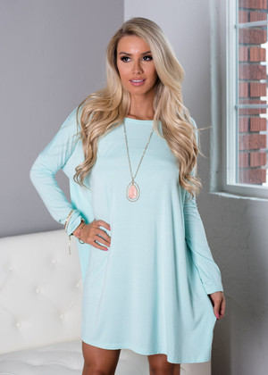Today Is the Day Piko Tunic Dress Mint