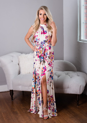 I've Been Lonely Floral Halter Maxi Dress Ivory