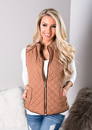 Camel Quilted Pattern Vest Brown