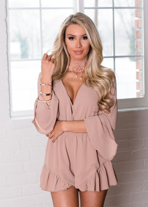 I Feel Lost Without You Bell Sleeve Romper Taupe