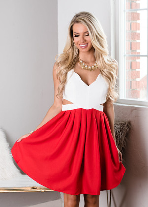 A Little Love In My Heart Cut Out Dress White/Red