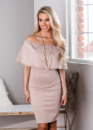 Case Closed Off Shoulder Ruffle Pencil Dress Cocoa CLEARANCE