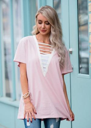 Cut Out Front Boxy Top Pink