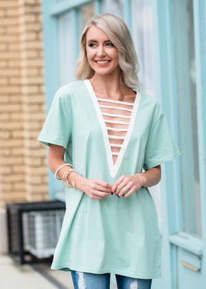 Cut Out Front Boxy Top Mint