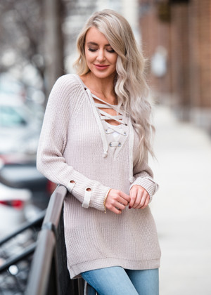 Back For More Tie Up Sweater Light Mauve