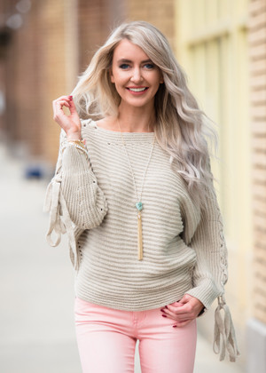 I'm Over the Top Tie Up Lace Sleeves Sweater Top Taupe CLEARANCE