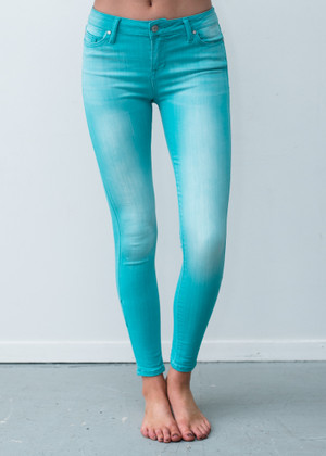 Don't Chance It High Rise Skinny Jeans Turquoise
