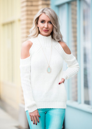 The Last Time Open Shoulder Sweater Top White
