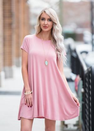 I'm Going Home Short Sleeve Pocket Dress Pink