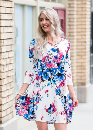 I Want You Back Criss Cross Floral Dress White