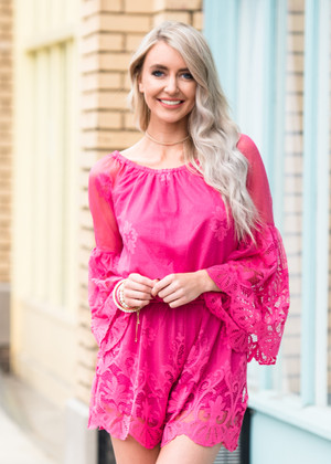 We Can Pretend Bell Sleeve Lace Romper Pink CLEARANCE