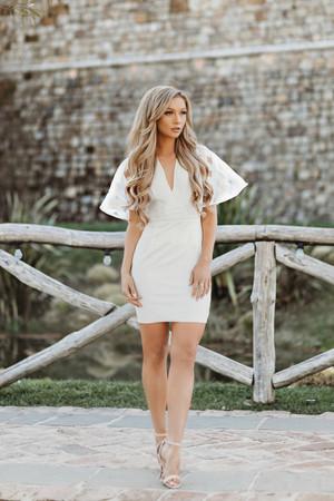 Plaid Print Lace Flare Sleeve Dress White