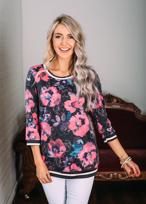On My Way Floral 3/4 Sleeve Top Charcoal/Pink CLEARANCE