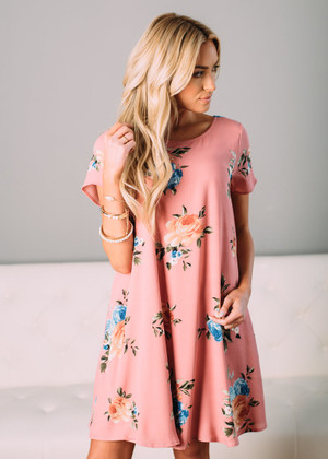 Beautiful Floral Short Sleeve Dress Mauve