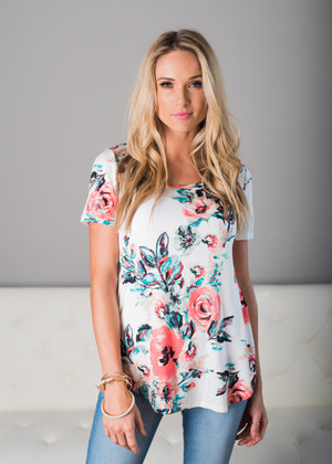 Try a Little Harder Floral Top Ivory