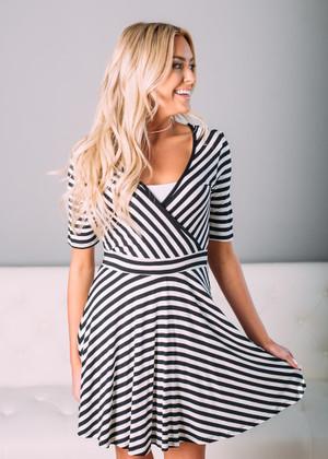 My Love Striped Wrap Dress