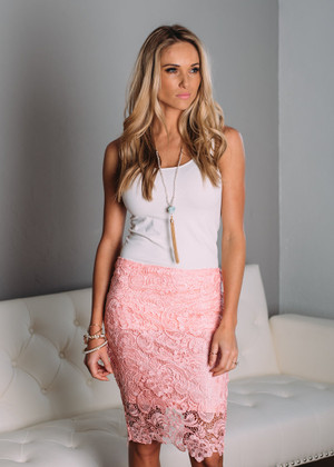 Happily Yours Lace Pencil Lace Skirt Pink