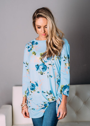 This Is My Day Floral Twist Top Lt Blue