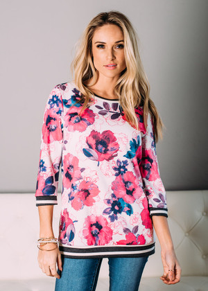 On My Way Floral 3/4 Sleeve Top White/Pink CLEARANCE