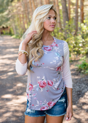 Perfectly Mine Floral 3/4 Sleeve Top Pink/Gray