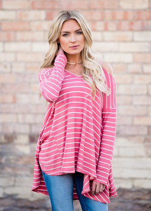 It's Never Easy Peek a Boo Shoulder Striped Top Pink