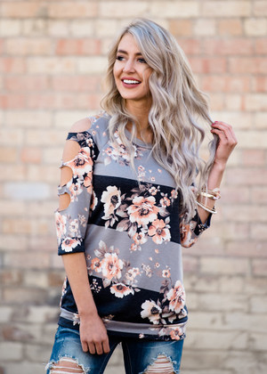 Almost There Floral Cut Out Sleeves Color Block Top