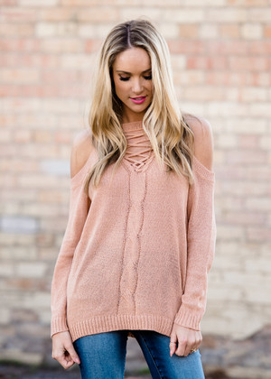 Looking Sharp Open Shoulder Lace Up Top Peach
