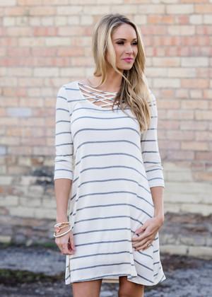 One More Dance Criss Cross Striped Dress Cream/Gray