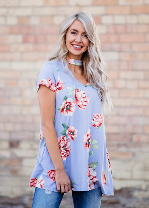 Keep You in Line Choker Floral Top Periwinkle