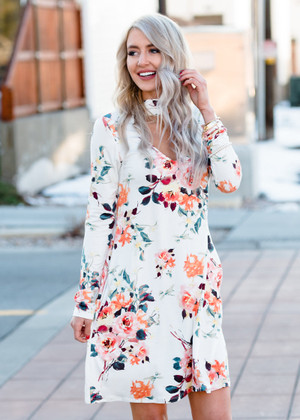 With Every Breath Floral Choker Dress Ivory
