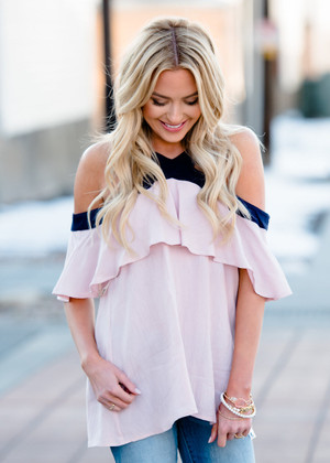 Young Blood Open Shoulder Ruffle Top Dusty Pink