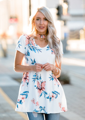 Keep You In Line Floral Choker Top White