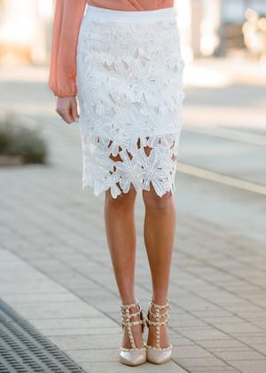 Feeling Proper White Crochet Skirt CLEARANCE