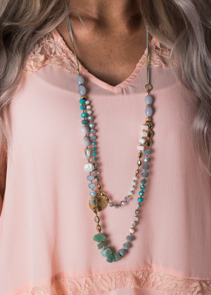 Double Layer Beaded Necklace Turquoise