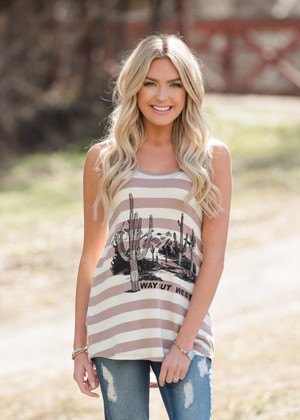 Way Out West Striped Tank Ivory/Mocha CLEARANCE