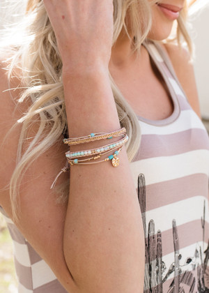 Beads and Strings Bracelet Stack Mint