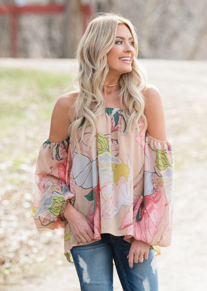 Gone With the Wind Off Shoulder Floral Top Peach