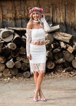 Aready Here Two Piece Off Shoulder White Lace CLEARANCE