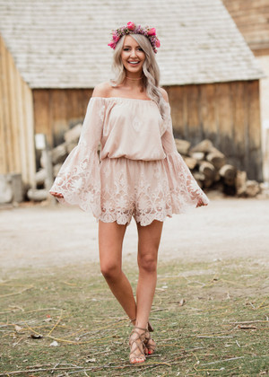 We Can Pretend Bell Sleeve Romper Tan CLEARANCE