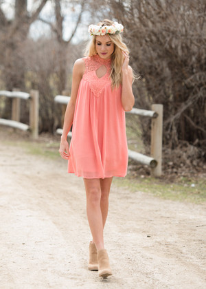 Perfect For Me Lace Neck Tank Dress Coral