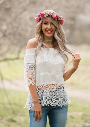 Ready For Summer Off Shoulder Lace Top Ivory CLEARANCE