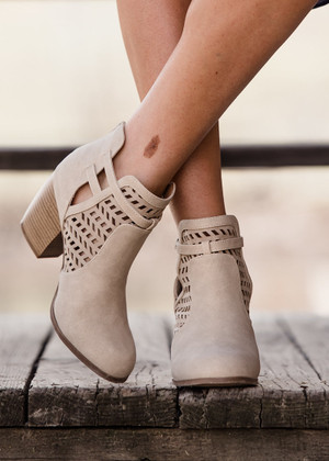 Made for Me Cut Out Booties Stone CLEARANCE