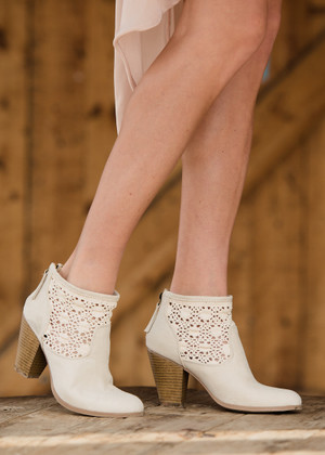 Always Searching for You Lace Booties Beige