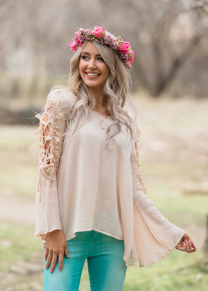 On and On Open Shoulder Top Blush CLEARANCE