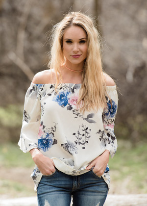 Wind In My Hair Floral Off Shoulder Top Ivory CLEARANCE