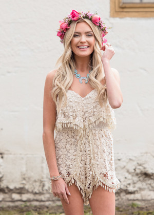 Saying Goodbye Crochet Ruffle Romper Cream CLEARANCE