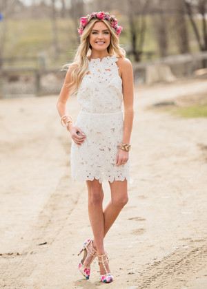 Obviously Insane Floral Lace Tank Open Back Dress White CLEARANCE
