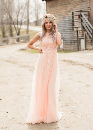 The Most Beautiful Day Lace Tulle Dress Peach