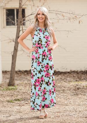 Better Than Revenge Floral Maxi Dress Aqua